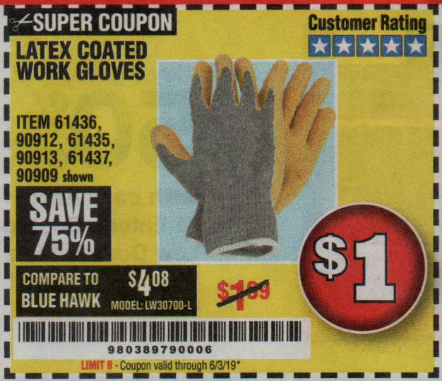 Harbor Freight Tools Coupons, Harbor Freight Coupon, HF Coupons-Hardy Latex Coated Work Gloves
