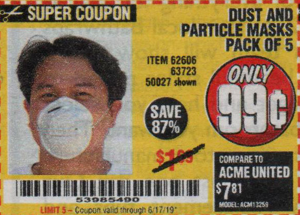 Harbor Freight Tools Coupons, Harbor Freight Coupon, HF Coupons-Dust And Particle Mask 5 Pack