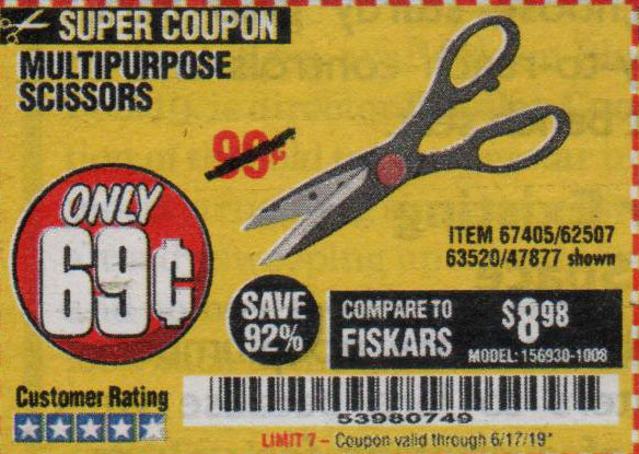 Harbor Freight Tools Coupons, Harbor Freight Coupon, HF Coupons-Multipurpose Scissors