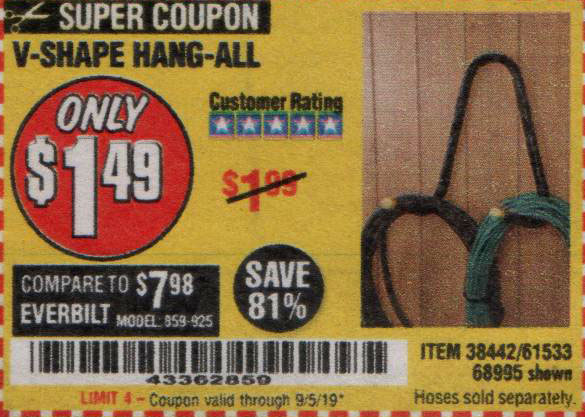 Harbor Freight Tools Coupons, Harbor Freight Coupon, HF Coupons-V-shape Hang-all