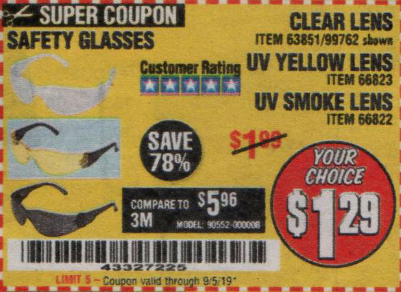 Harbor Freight Tools Coupons, Harbor Freight Coupon, HF Coupons-Safety Glasses