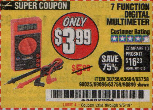 Harbor Freight Tools Coupons, Harbor Freight Coupon, HF Coupons-7 Function Digital Multimeter