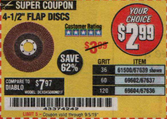 Harbor Freight Tools Coupons, Harbor Freight Coupon, HF Coupons-4-1/2 In. 36 Grit Flap Disc