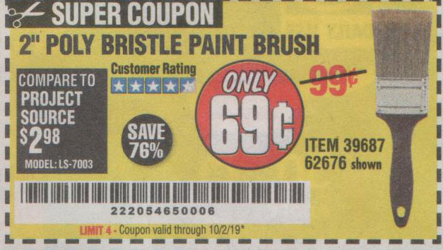 Harbor Freight Tools Coupons, Harbor Freight Coupon, HF Coupons-2 In. Professional Paint Brush