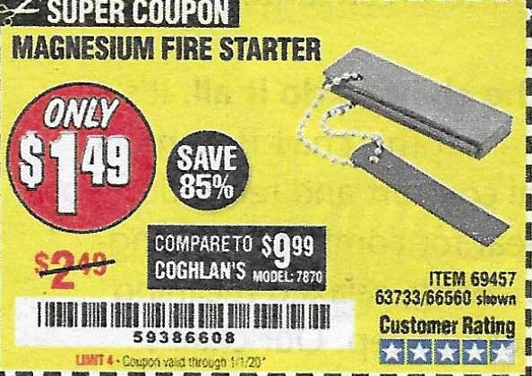 Harbor Freight Tools Coupons, Harbor Freight Coupon, HF Coupons-Magnesium Fire Starter