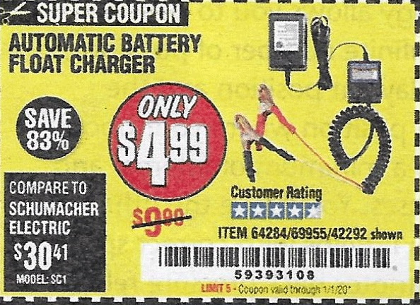 Harbor Freight Tools Coupons, Harbor Freight Coupon, HF Coupons-Automatic Battery Float Charger