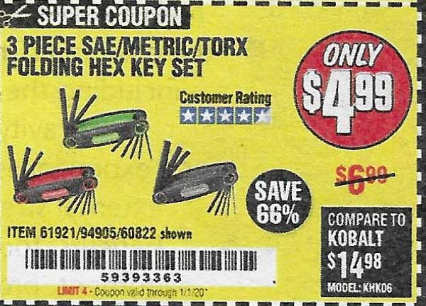 Harbor Freight Tools Coupons, Harbor Freight Coupon, HF Coupons-Sae/metric/torx Folding Hex Key Set Pack Of 3