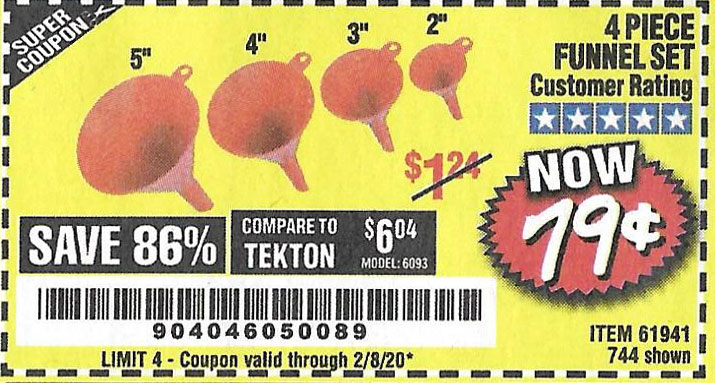Harbor Freight Tools Coupons, Harbor Freight Coupon, HF Coupons-4 Piece Funnel Set