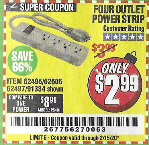 Harbor Freight Tools Coupons, Harbor Freight Coupon, HF Coupons-4 Outlet Power Strip