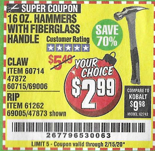 Harbor Freight Tools Coupons, Harbor Freight Coupon, HF Coupons-16 Oz. Hammers With Fiberglass Handle