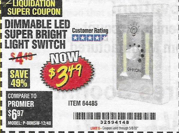 Harbor Freight Tools Coupons, Harbor Freight Coupon, HF Coupons-Dimmable Led Super Bright Light Switch