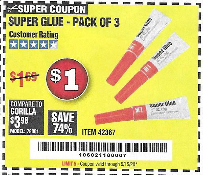 Harbor Freight Tools Coupons, Harbor Freight Coupon, HF Coupons-Super Glue Pack Of 3