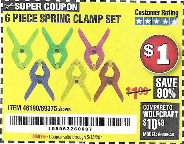 Harbor Freight Tools Coupons, Harbor Freight Coupon, HF Coupons-6 Piece Micro Spring Clamp Set