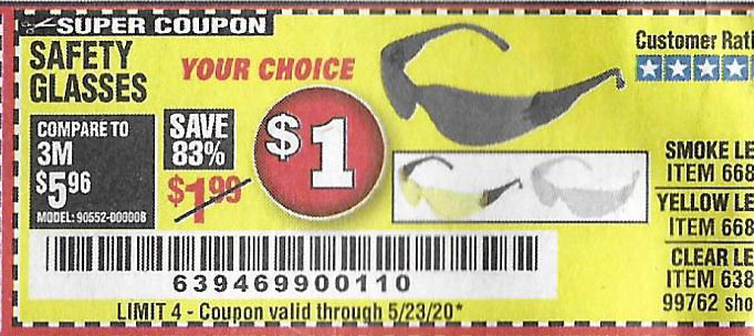 Harbor Freight Tools Coupons, Harbor Freight Coupon, HF Coupons-Clear Lens Safety Glasses