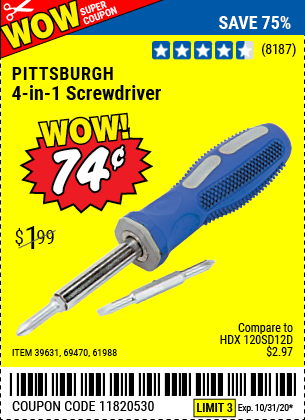 Harbor Freight Tools Coupons, Harbor Freight Coupon, HF Coupons-4-in-1 Screwdriver