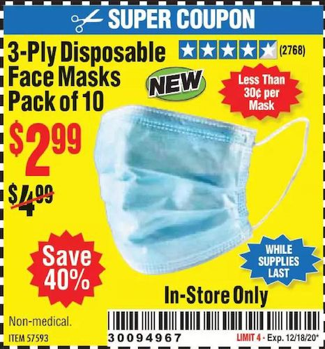 Harbor Freight Tools Coupons, Harbor Freight Coupon, HF Coupons-3-Ply Disposable Face Masks