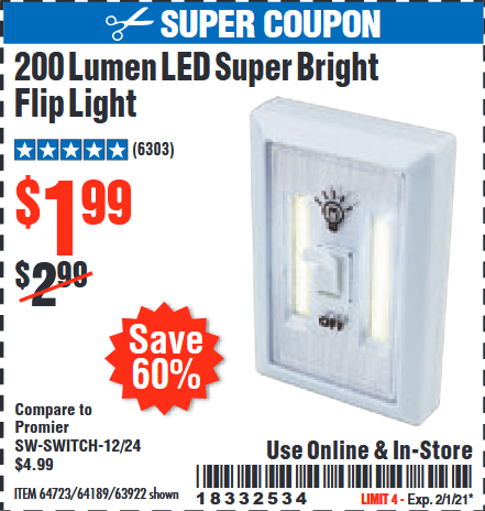 Harbor Freight Tools Coupons, Harbor Freight Coupon, HF Coupons-Led Super Bright Flip Light