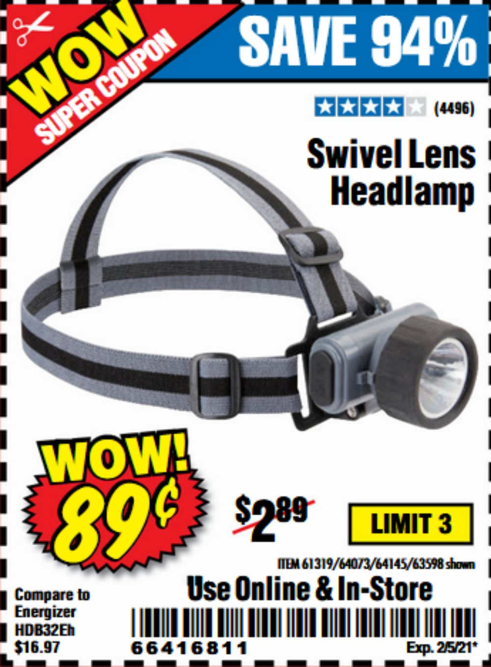 Harbor Freight Tools Coupons, Harbor Freight Coupon, HF Coupons-Headlamp With Swivel Lens