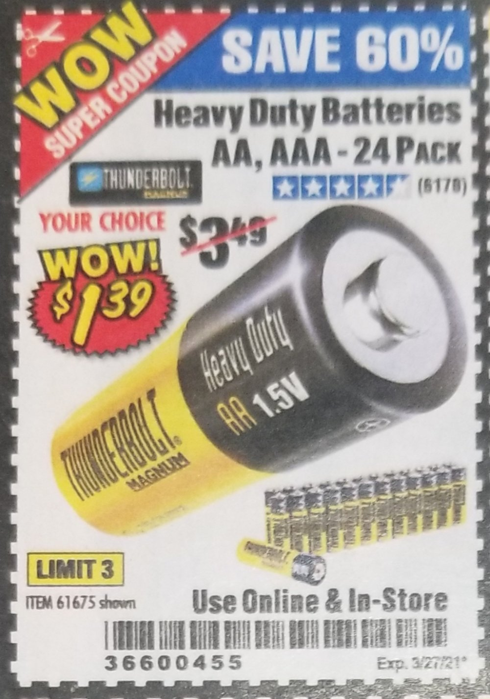 Harbor Freight Tools Coupons, Harbor Freight Coupon, HF Coupons-24 Pack Heavy Duty Batteries