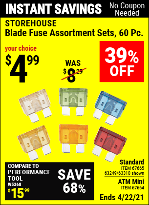 Harbor Freight Tools Coupons, Harbor Freight Coupon, HF Coupons-60 Piece Blade Fuse Sets