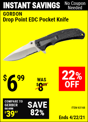 Harbor Freight Tools Coupons, Harbor Freight Coupon, HF Coupons-Drop Point Tactical Knife