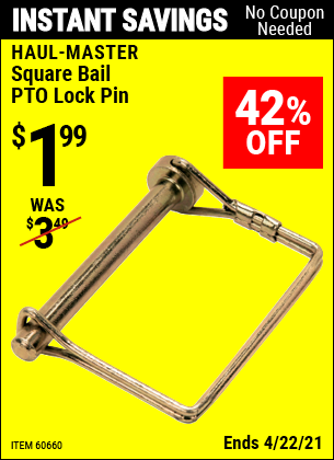 Harbor Freight Tools Coupons, Harbor Freight Coupon, HF Coupons-Square Bail Pto Lock Pin