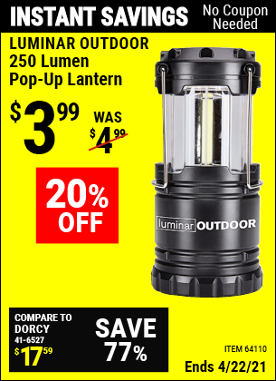 Harbor Freight Tools Coupons, Harbor Freight Coupon, HF Coupons-250 Lumens Pop-up Lantern