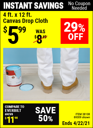 Harbor Freight Tools Coupons, Harbor Freight Coupon, HF Coupons-4 Ft. X 12 Ft. Canvas Drop Cloth