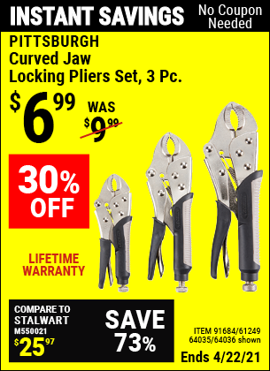 Harbor Freight Tools Coupons, Harbor Freight Coupon, HF Coupons-3 Piece Curved Jaw Locking Pliers Set