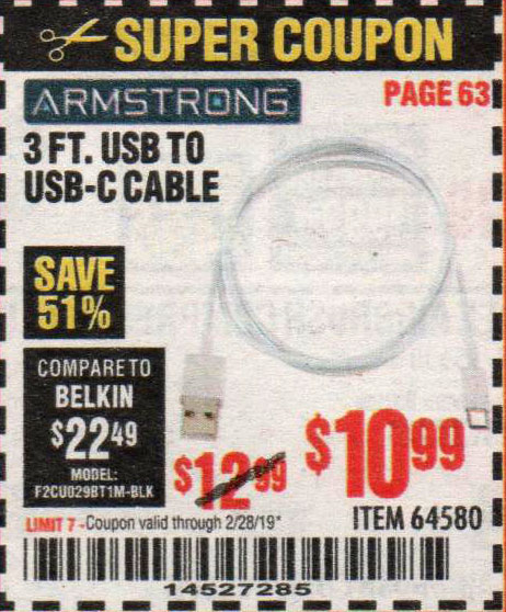 Harbor Freight Coupons, HF Coupons, 20% off - 3 Ft. Usb To Usb-c Cable
