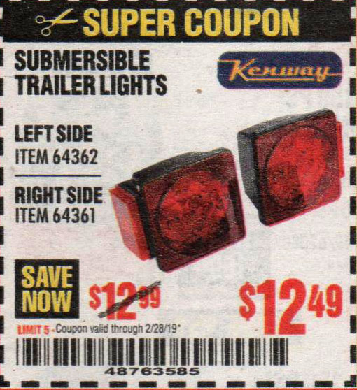 Harbor Freight Coupons, HF Coupons, 20% off - Submersible Trailer Lights