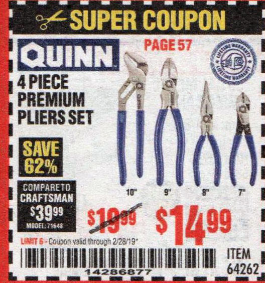 Harbor Freight Coupons, HF Coupons, 20% off - Quinn 4 Piece Pliers Set