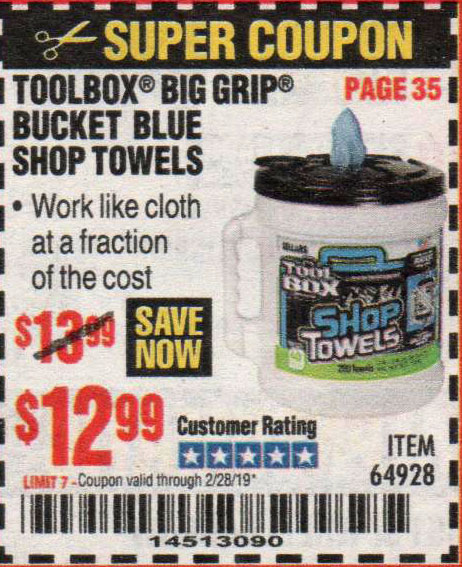 Harbor Freight Coupons, HF Coupons, 20% off - Toolbox Big Grip Bucket Blue Shop Towels