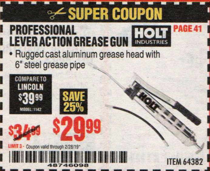 Harbor Freight Coupons, HF Coupons, 20% off - Professional Lever Action Grease Gun