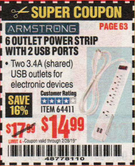Harbor Freight Coupons, HF Coupons, 20% off - 6 Outlet Power Strip With 2 Usb Ports