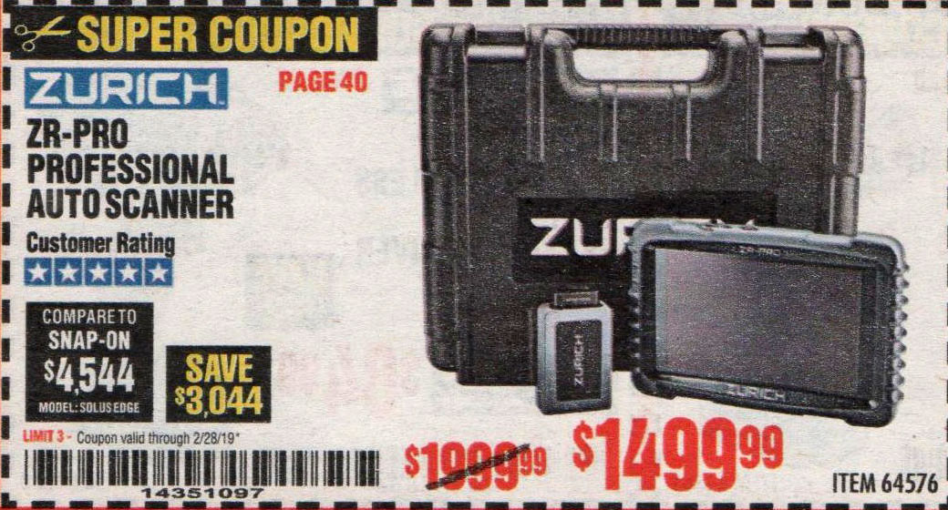 Harbor Freight Coupons, HF Coupons, 20% off - Zurich Zr-pro Professional Auto Scanner