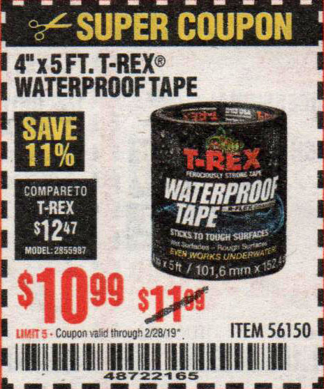 Harbor Freight Coupons, HF Coupons, 20% off - T-rex Waterproof Tape