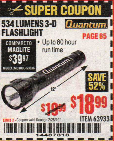 Harbor Freight Coupons, HF Coupons, 20% off - 534 Lumens 3-d Flashlight