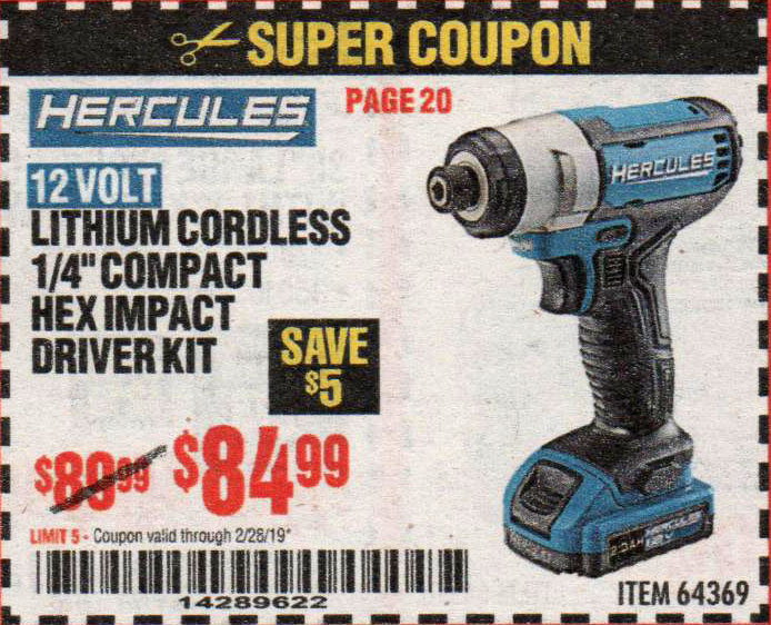 Harbor Freight Coupons, HF Coupons, 20% off - 64369