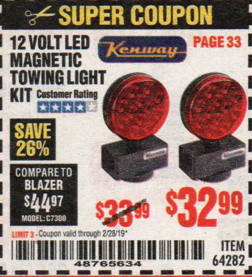 Harbor Freight Coupons, HF Coupons, 20% off - 12 Volt Led Magnetic Towing Light Kit