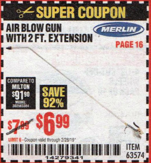 Harbor Freight Coupons, HF Coupons, 20% off - Merlin Air Blow Gun With 2 Ft. Extension