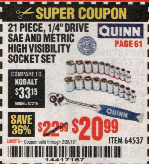 Harbor Freight Coupons, HF Coupons, 20% off - Quinn 21 Piece, 1/4