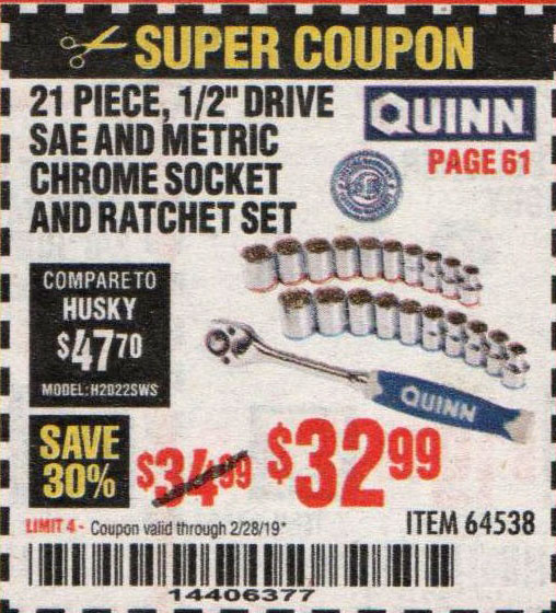 Harbor Freight Coupons, HF Coupons, 20% off - Quinn 21 Piece, 1/2