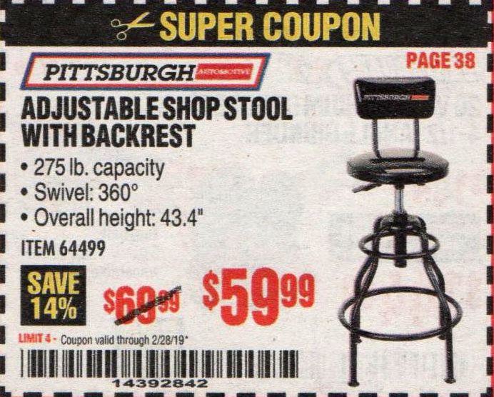 Harbor Freight Coupons, HF Coupons, 20% off - Adjustable Shop Stool With Backrest
