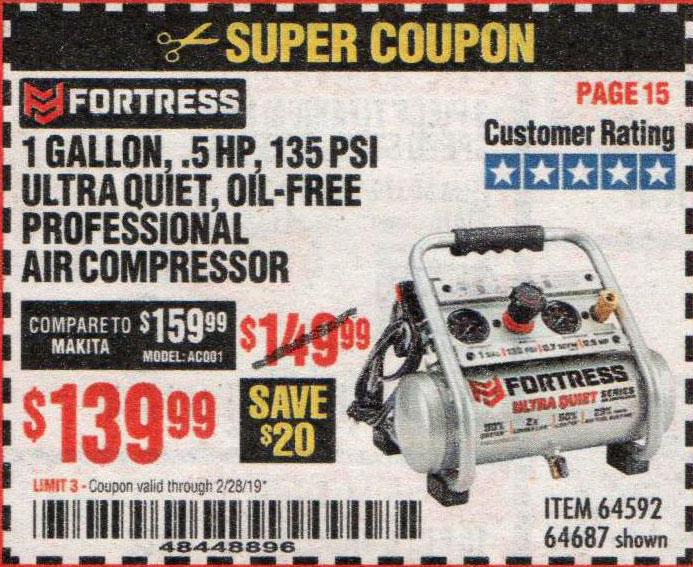Harbor Freight Coupons, HF Coupons, 20% off - 1 Gallon, .5hp, 135 Psi Oil Free Portable Air Compressor