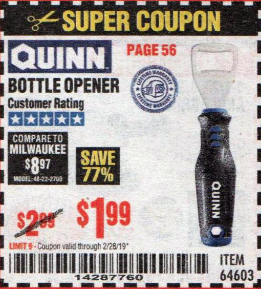 Harbor Freight Coupons, HF Coupons, 20% off - Bottle Opener