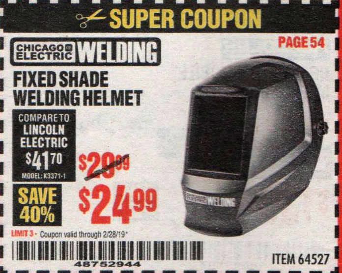 Harbor Freight Coupons, HF Coupons, 20% off - Chicago Electric Fixed Shade Welding Helmet