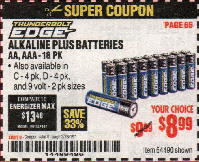 Harbor Freight Coupons, HF Coupons, 20% off - Alkaline Batteries