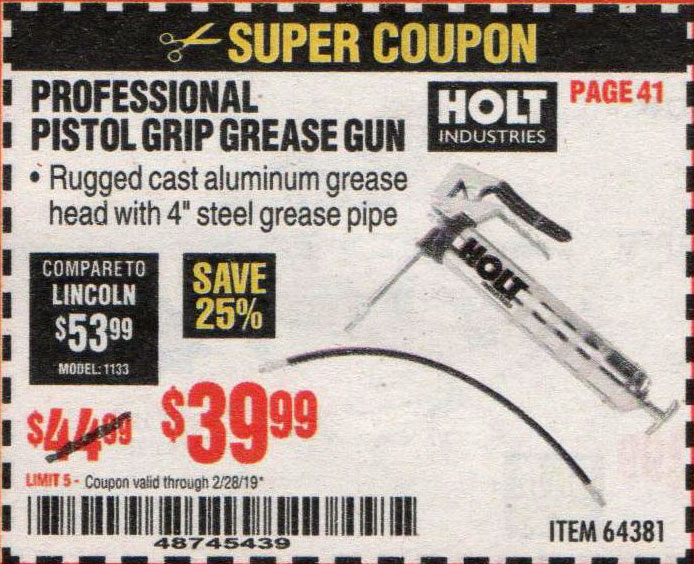 Harbor Freight Coupons, HF Coupons, 20% off - Holt Professional Pistol Grip Grease Gun