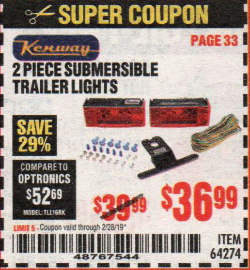 Harbor Freight Coupons, HF Coupons, 20% off - 2 Piece Submersible Trailer Lights